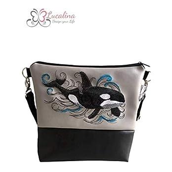 Handtasche Orca Schultertasche/Umhängetasche *bestickt