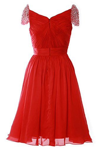 MACloth Women Cap Sleeve Short Ball Gown Evening Formal Prom Dress Wedding Party Champagner