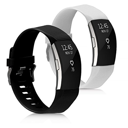kwmobile Pulsera para Fitbit Charge 2 Talla S - Brazalete de [Silicona] en [Negro/Blanco] sin Fitness Tracker