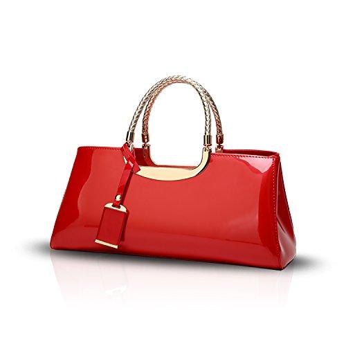Sunas 2017 estate nuovo Moda Vernice lucida Femminile Borsa a mano retrò Casual Borsa messenger Portafoglio rosso
