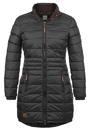 Blend She Carlotta Damen Steppmantel Übergangsmantel Lange Jacke Mit Stehkragen, Größe:M, Farbe:Phantom Grey (70010)