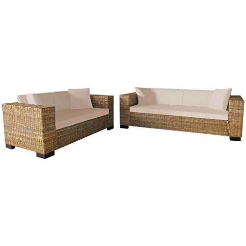 Festnight Sofa Set Wohnzimmersofa Couch Loungesofa aus Echtes Rattan Holzrahmen inkl. 2-Sitzer-Sofa und 3-Sitzer-Sofa Rattansofa-Set