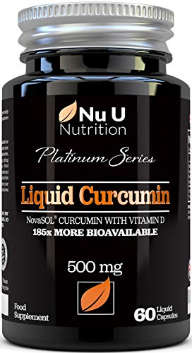 Cápsulas de Cúrcuma Curcumina (Líquidas) con Vitamina D | 185 Veces Más Biodisponibilidad Curcumina NovaSOL® | Curcuma Curcumina Líquida Vegetariana de Calidad Superior de Alta Potencia