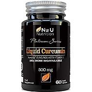 Turmeric Curcumin Capsules (Liquid) with Vitamin D | 185 More Bioavailability NovaSOL® Curcumin | High Strength Vegetarian Premium Liquid Turmeric Curcumin not Tablets Made in The UK