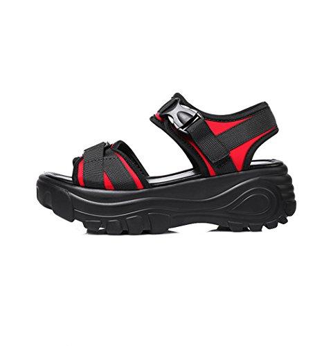 Damen Sandalen Plateau Sportlich Canvas Atmungsaktiv Rutschhemmend Leicht Weich Offen Sommerlich Bequem Modisch Schuhe Rot