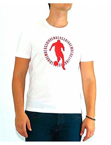 Bikkembergs - Tshirt Dirk Bikkembergs White Red Logo - L, bianco