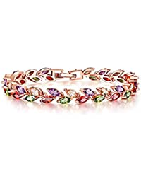 Peora Rose Gold Plated Multi Colored CZ Tennis Bracelets For Women Girls