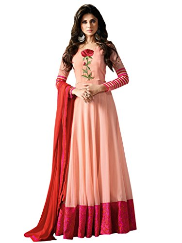 Anarkali ( Vaikunth Fabrics Georgette And Art Silk Peach Embroidered Women\'s Wear Semi Stitched Anarkali Suit AS-11003 )