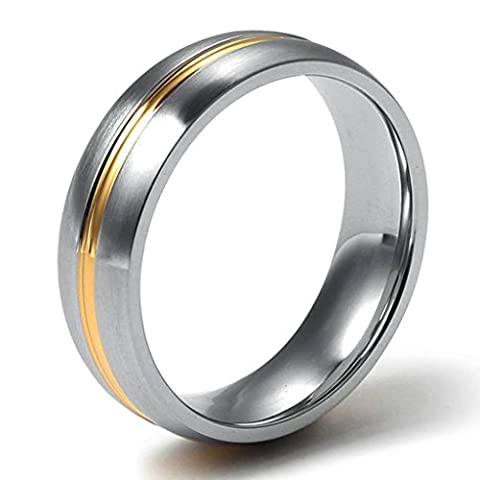 Stainless Steel Men's Rings Silver Bands Middle Gold Stripe Polished