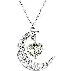 EVRYLON Collier Luminescent Femme Pendentif Lune Coeur Perle Phosphorescent S'éclaire dans l'obscurité Magnifique Idée Cadeau Fille