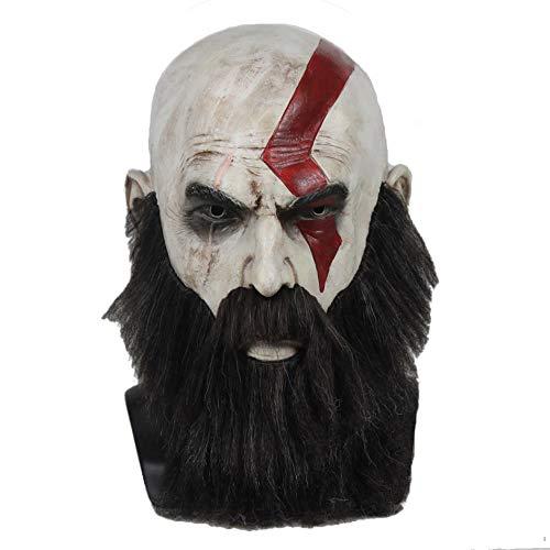hcoser God of war Game Kratos Maske mit Bart Latex Helm Cosplay Halloween Party für (Kratos Cosplay Kostüm)