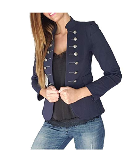 CuteRose Womens Fall Winter Double-Breasted Slim Fitting Blazers Coat Tops Dark Blue L Double Breasted Coat Petite