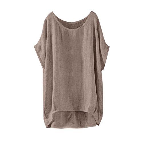 amen Große Größen Leinen Einfarbig mit Rundhalsausschnitt Kurzarm Lose Shirt Tops Oberteile Bluse(EU-40/CN-L,Khaki) ()