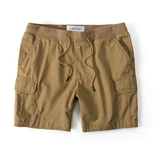 CHLCH Herren Sport Shorts Jogginghose KordelzugLose gerade Khaki XXL