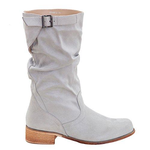Toocool - Scarpe donna stivaletti scamosciati biker boots Queen Helena nuovo QH16032 Grigio