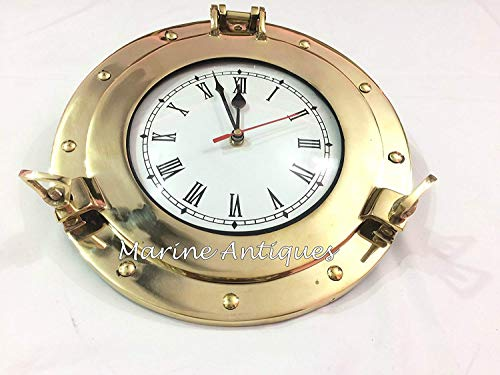 Premium Nautical Brass Porthole Clock   Pirate Ship's Elegant Metal Roman Dial Face Wall Clock   Home Decorative Gifts   Nagina International (17 Inches) (Brass Porthole Clock)
