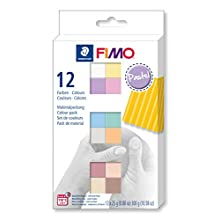STAEDTLER 8023 C12-3 FIMO Soft Oven Hardening Modelling Clay 12 x 25 g Blocks - Pastel Colours