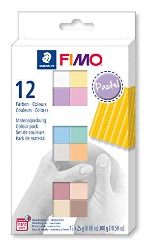 STAEDTLER 8023-C12-3. Pasta para modelar FIMO. 12 Pastillas de Colores de 25 Gramos. Pack Colores Pastel.