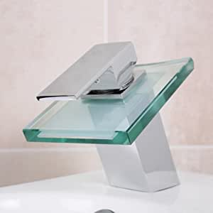 design wasserhahn glas wasserfall bad armatur inkl montagematerial baumarkt. Black Bedroom Furniture Sets. Home Design Ideas