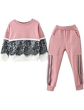 Kukul Sudaderas + pantalones para 3-7 años Bebé Niñas Sudaderas decoración de encaje