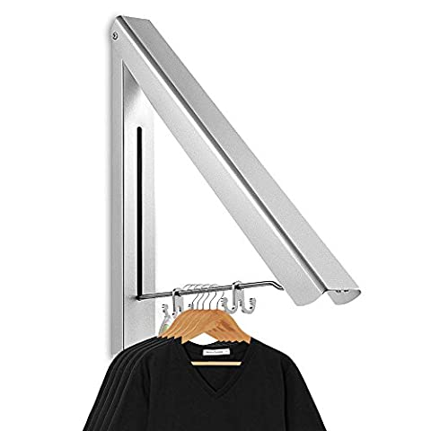 Aodoor Klappbar Wand-Kleiderständer (Aluminium), Kleiderhaken Garderobenhaken Geeignet für Wohnzimmer, Bad, Schlafzimmer, Büro Silber