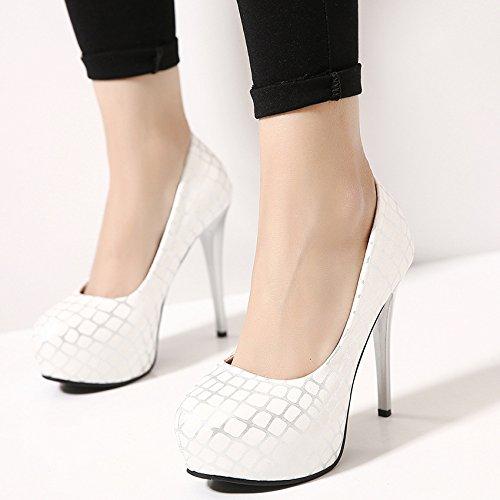 GS~LY Tête étanche haute féminin light chaussures à talons aiguilles White