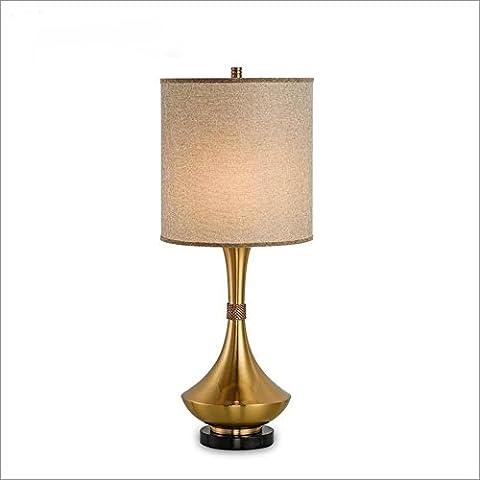 OOFWY E27 Tischlampe Moderne einfache Art für Hotel-Schlafzimmer-Wohnzimmer-Nachttopf-Dekoration-spinnender Tuch-Lampenschirm Electroplated Metallbronze-Kristall Schreibtisch-Lampen-Höhe 36.6inch , A
