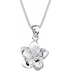 Elli PREMIUM Damen-Kette mit Anhänger Frangipani Blüte Zirkonia 925 Silber Diamant (0.03 ct) weiß Brillantschliff 45 cm - 0108771115_45