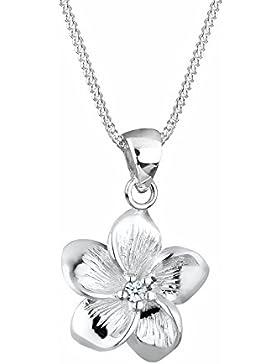 Elli Premium Damen-Kette mit Anhänger Blume Frangipani Blüte 925 Silber Diamant (0.03 ct) weiß Brillantschliff...
