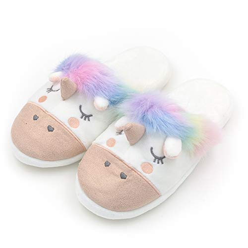 Womens Warm Indoor Slippers Fleece Plush Unicorn Animal Slip-on House Bedroom Winter Shoes