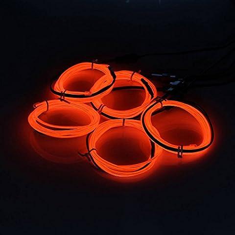AUDEW 5 x 1M Neon legare di EL colori filo elettroluminescente brillante Garland (EL Wire) con contenitore di batteria per la notte, Party, Compleanno, Auto / Costruire Decorazione Rosso