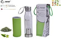 Healthy premium quality green tea cum detox water glass bottle with bottom infuser cum filter with a complimentary sleeve (SWASH BRAND for Green, Jasmine, Lemon, Organic, etc. teas)
