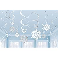 Amscan Winter Wonderland Christmas Party Hanging Snowflakes & Swirl Decorations Value Bundle, White/Silver (2-Pack)
