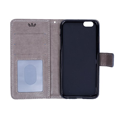 iPhone 6S Hülle,iPhone 6 Hülle,SainCat Apple iPhone 6/6S (4,7 Zoll) Leder Wallet Tasche Handyhülle [Diagonal Rose Muster] Ledertasche Brieftasche im BookStyle PU Leder Hülle Wallet Case Folio Rose Gol Golden Butterfly-Grau
