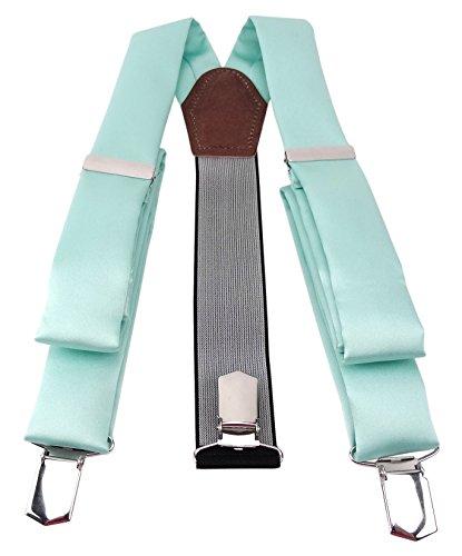 TigerTie Herren Hosenträger Breit Y-Form mit 3 extra starken Clips - Farbe in mint grün einfarbig Uni - hochwertige Verarbeitung