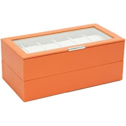 Wolf Stackable Watch Trays 12 plus 12 stores up to 24 watches in Orange