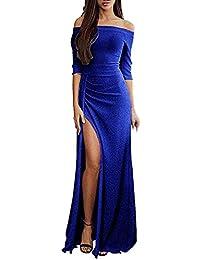ed2230777326 Sunnywill Vestito da Donna Donna off Shoulder Bodycon Dress Maglione Vestito  Sexy Senza Spalline Maglieria Maniche