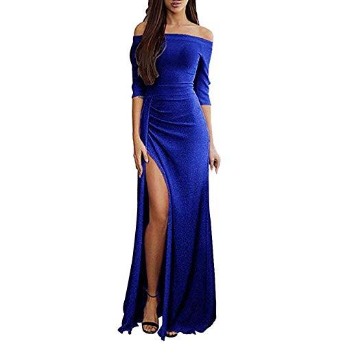 iHENGH Damen Frühling Sommer Rock Bequem Lässig Mode Kleider Frauen Röcke Off Schulter Kleider hoch Split Maxi Lange Abendkleider(Blau, XL) Zebra Formale Kleider