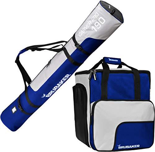 Brubaker Kombi Set Skisack und Skischuhtasche für 1 Paar Ski bis 190 cm + Stöcke + Schuhe + Helm Blau Silber -