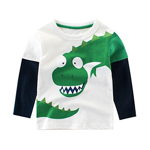 De feuilles Little Boys Dinosaur Long Sleeve Baseball T-Shirt Tops Clothing White & Dinosaur 2-3 Years