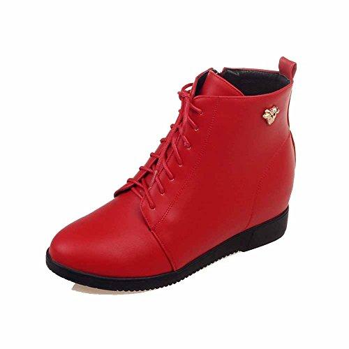 VogueZone009 Damen Niedrig-Spitze Reißverschluss Hoher Absatz Stiefel mit Metall Nägel Rot