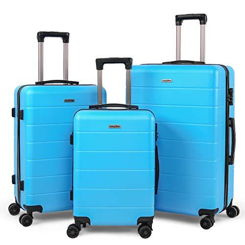 Carryone valigie set trolley bagaglio a mano con 4 rotelle girevole, rigidi e leggeri valigia da viaggio set da 3 pezzi 55cm, 66cm, 76cm-19tc1(blu cielo)