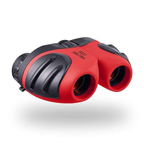 LRKZ Faltbares Kinderfernglas Mini 8X Stoßfestes HD-Teleskop, Geschenk Für Jungen Und Mädchen Vogelbeobachtung, Reisen Im Freien, Wandern Und Oper,Red (Stargazing Live)