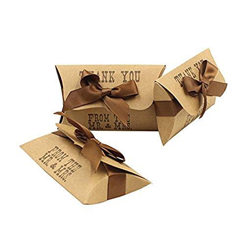 50pz portaconfetti cuscino elegante matrimonio from the mr.& mrs compreso nastro