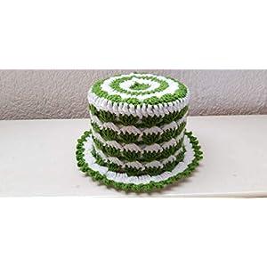 (8) Klopapierhut Klohut Toilet paper hat in Grün und Weiß gehäkelt Auto Fußball Kult Geschenk Scherzartikel