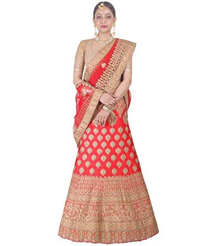 Indian Ethnicwear Bollywood Pakistani Wedding Red A-Line Lehenga Semi-stitched-DIVISL042