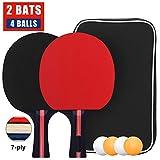 Set da Ping Pong, Set di Racchette da Ping Pong con 2 Racchetta e 4 Palline, Racchetta con Pallina Kit Table Tennis in Borsa per Indoor Outdoor Tavolo da Ping Pong Gioco