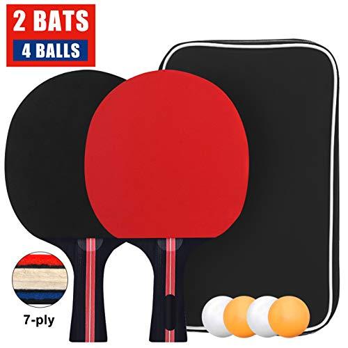 Tischtennisschläger Set mit 2 Schläger und 4 Bälle in Tasche, Tischtennis Set Schläger und Bälle Ping Pong Set mit Etui ideal für Kinder Erwachsene 2 Spieler Set