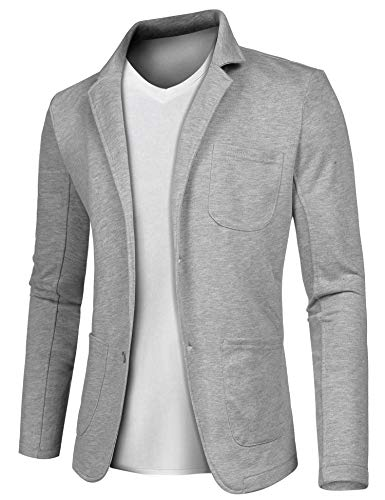 MAXMODA Herren 2-Knopf-Sakko Blazer Freizeit Anzugssakko V-Ausschnitt Slim Fit Blazer Grau M