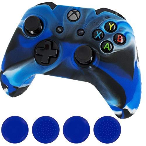TOSSPER Leitstern New Silikon Tasche, Haut-Controller und Grip-Stick Caps für Xbox One, Camo Blau -